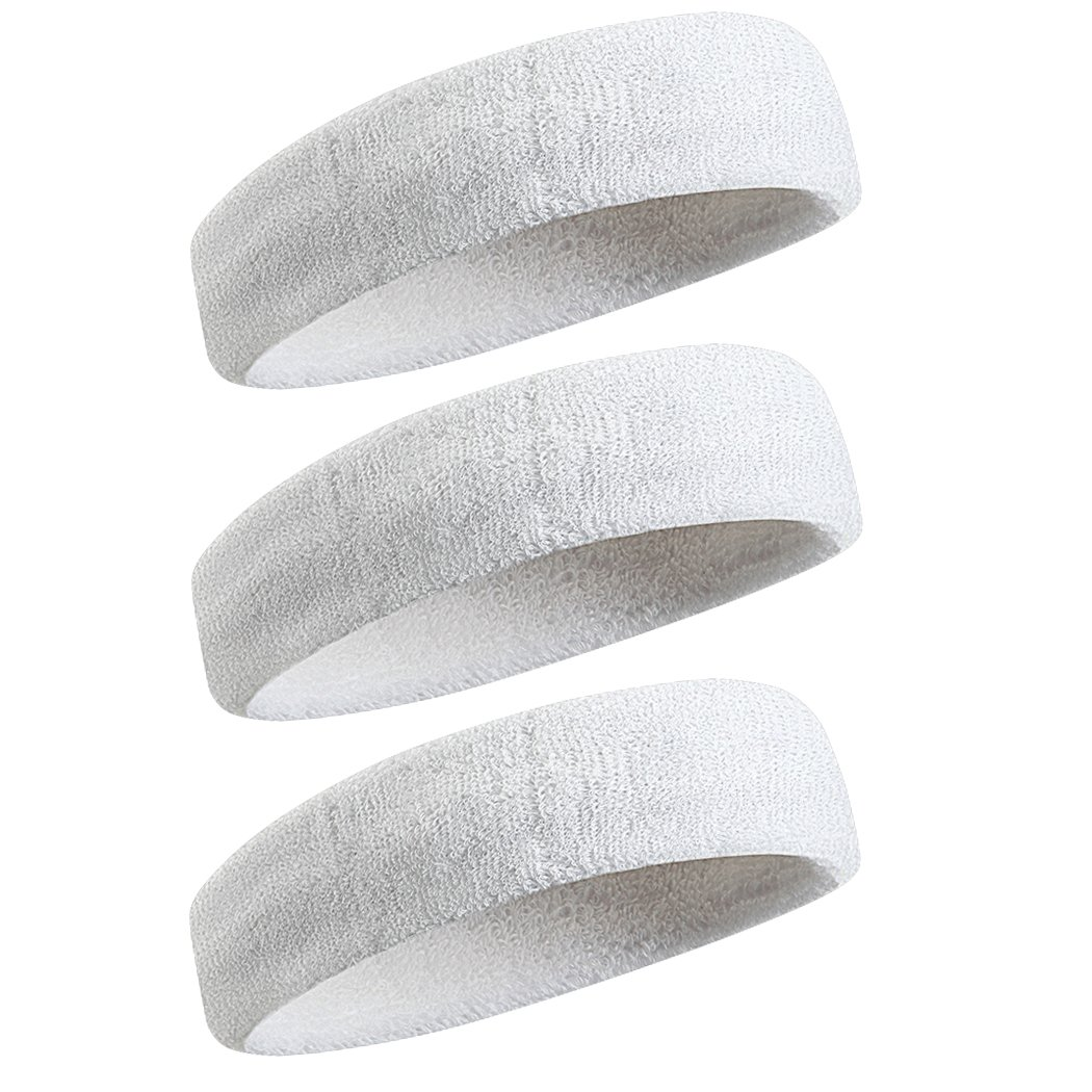 BEACE Sweatbands Sports Headband/Wristband for Men & Women - 3PCS / 6PCS Moisture Wicking Athletic Cotton Terry Cloth Sweatband for Tennis, Basketball, Running, Gym, Working Out (01-3PC-3White-2) by BEACE