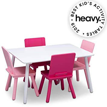 Miraculous Delta Children Kids Chair Set And Table 4 Chairs Included White Pink Frankydiablos Diy Chair Ideas Frankydiabloscom