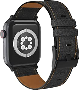 LORDSON Leather Band Compatible with Apple Watch Band 42mm 44mm, Vintage Genuine Replacement Watch Strap Wristband Man Women Compatible with iWatch Series SE 6/5/4/3/2/1