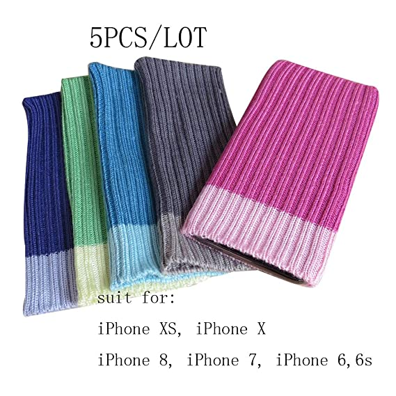 Amazon.com  5pcs Sock Covers for iPhone Xs X and iPhone 8 7 6 6s ... 100c9f5d2e74
