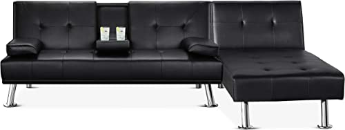 YAHEETECH Faux Leather Sectional Sofa Couch Sectional Living Room Furniture Set Convertible Futon Sofa Beds