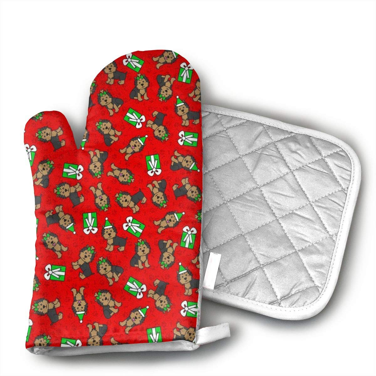 Sjiwqoj8 Merry Yorkies (Red Small) Kitchen Oven Mitts,Oven Mitts and Pot Holders,Heat Resistant with Quilted Cotton Lining,Cooking,Baking,Grilling,Barbecue