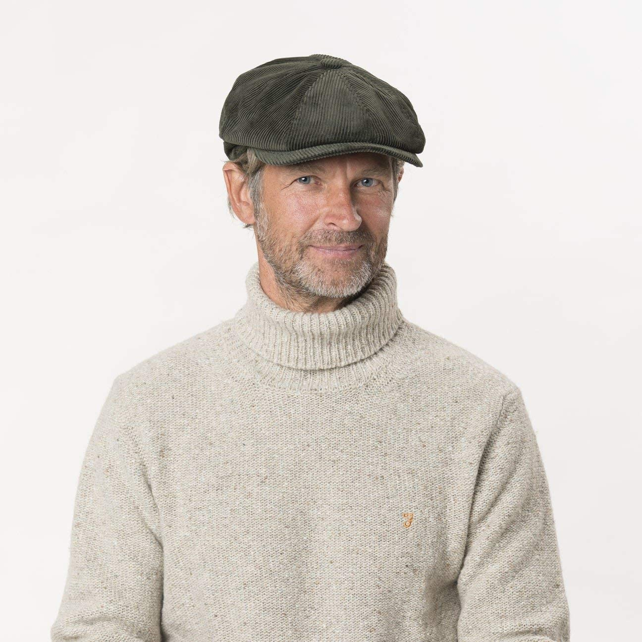 Cord Men`s Cap with Quilted Lining Autumn//Winter 56-57 cm Newsboy Cap Made of Cotton Made in Italy Peaked Ivy Cap Olive M Lipodo Cordial Flat Cap