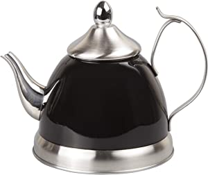 Creative Home 77078 1.0 Qt. Nobili Stainless Steel Tea Kettle with Removable Infuser Basket, Quart/ 32 Ounce, Filter Black