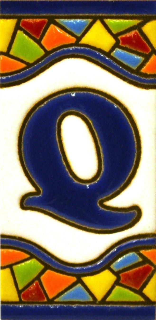 pintados a mano en t/écnica cuerda seca para placas con nombres N/úmeros casa direcciones y se/ñal/éctica Texto personalizable Letreros con numeros y letras en azulejo de ceramica policromada Dise/ño MOSAICO MINI 7,3 cm x