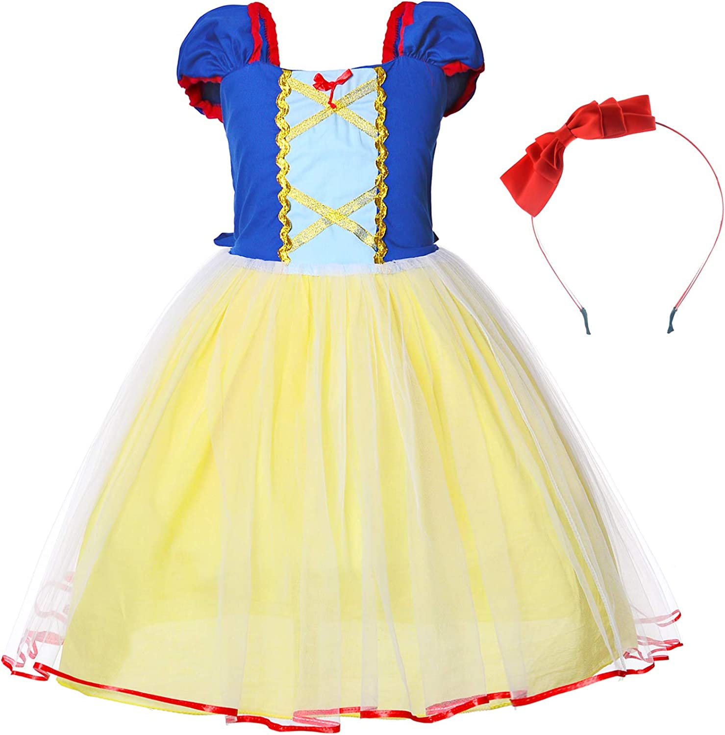 Princess Birthday Party Costume for Toddler Girls Dress Up with Headband 2-6 Years