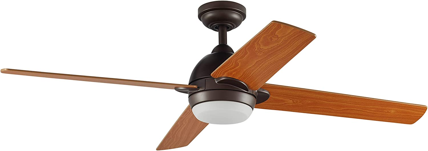 Stone Beam Modern Indoor Remote Control Ceiling Fan With Integrated LED Light – 52 x 52 x 8.94 Inches, Aged Bronze