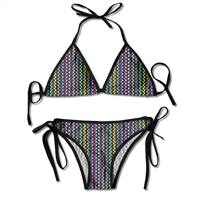 11bec5ff42f Image Unavailable. Image not available for. Color: Women's Swimsuit Two  Pieces Bikini Set, Curved Stripes with Rainbow ...