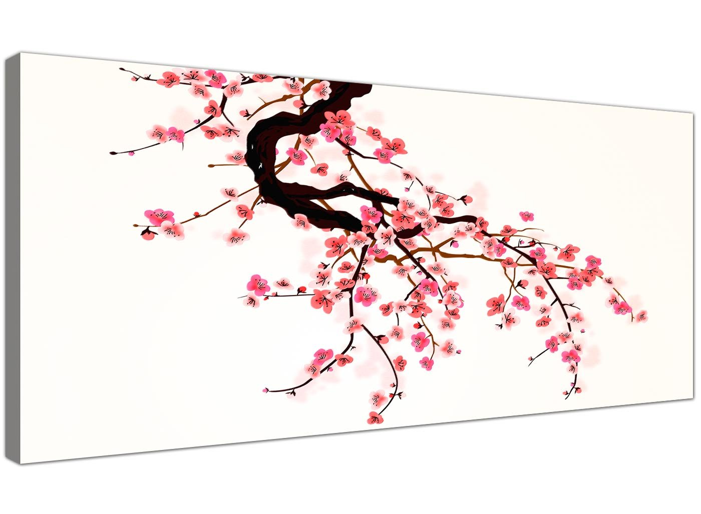 Wallfillers Large Red and Pink Canvas Pictures of Japanese Cherry Blossom - Floral Wall Art -  sc 1 st  Amazon UK & Large Abstract Japanese Painting Cherry Blossom Canvas Wall Art ...