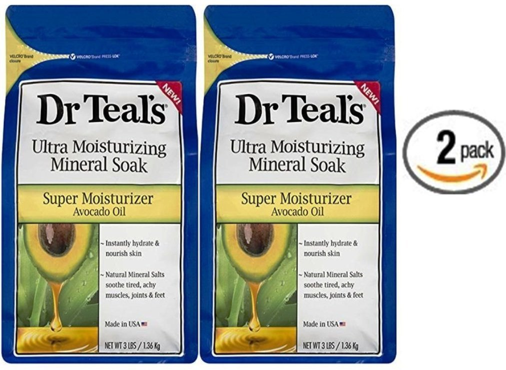 Dr. Teal's Ultra Moisturizing Mineral Soak Super Moisturizer with Avocado Oil, 3 Lbs (Pack of 2)