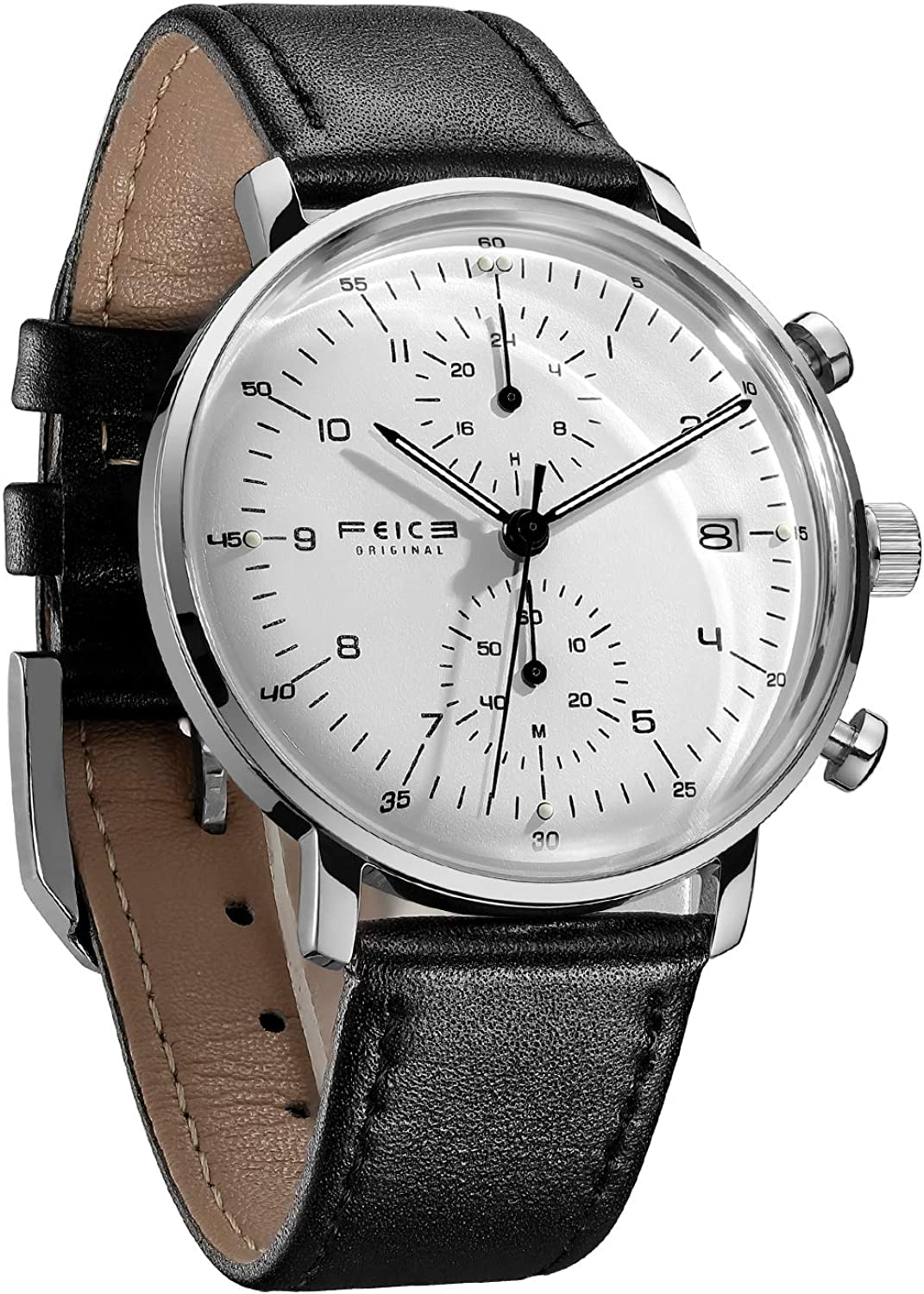 FEICE Men s Watches Ultra Thin Analog Quartz Watch Stainless Steel Luminous Dual Time Casual Watches for Men with Leather Bands Calendar -FS021