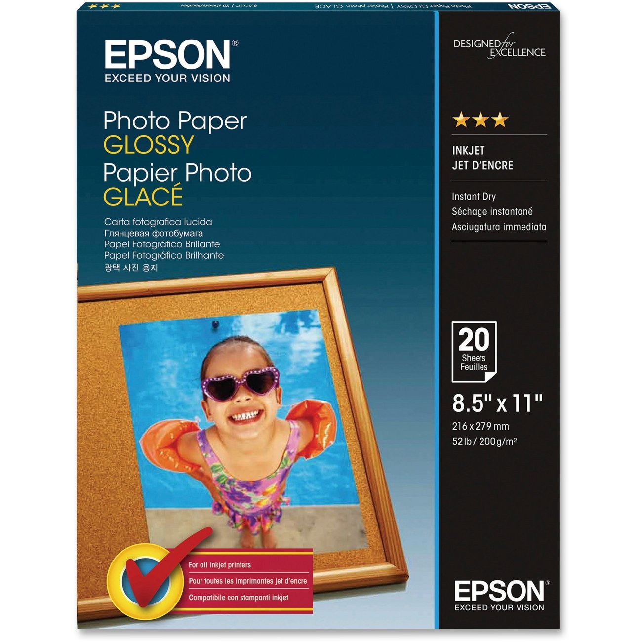 Epson Photo Paper, Letter Size, 20 Sheets