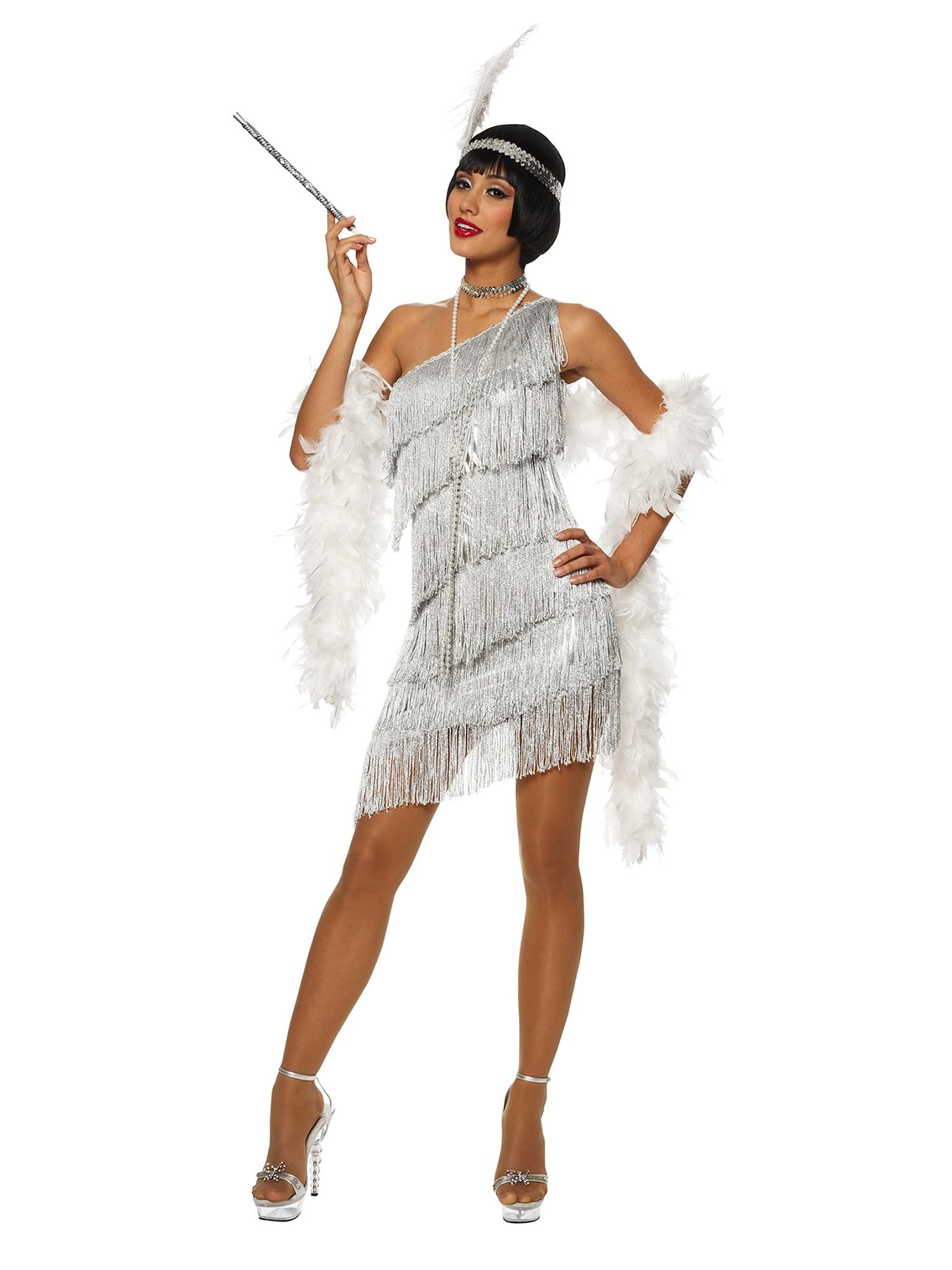 Women's Dazzling Silver Flapper Dress - L