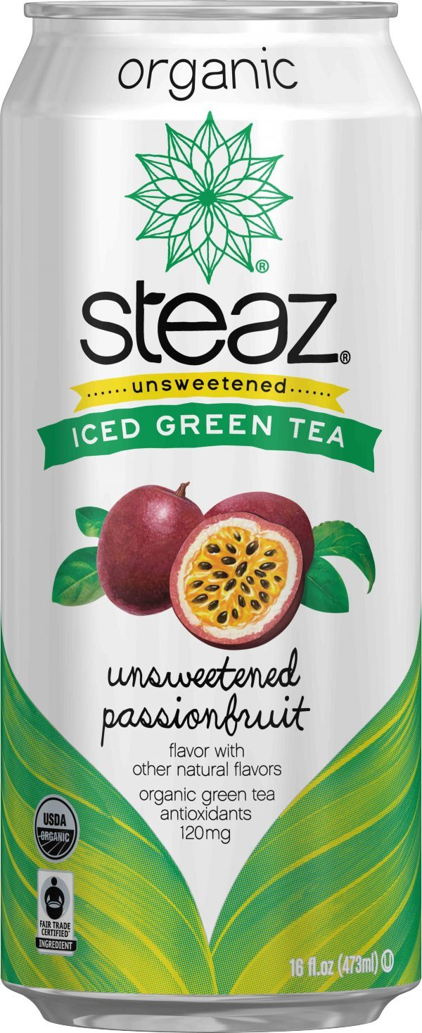 Steaz Organic Iced Green Tea, Unsweetened Passionfruit, 16 Ounce (Pack of 12)