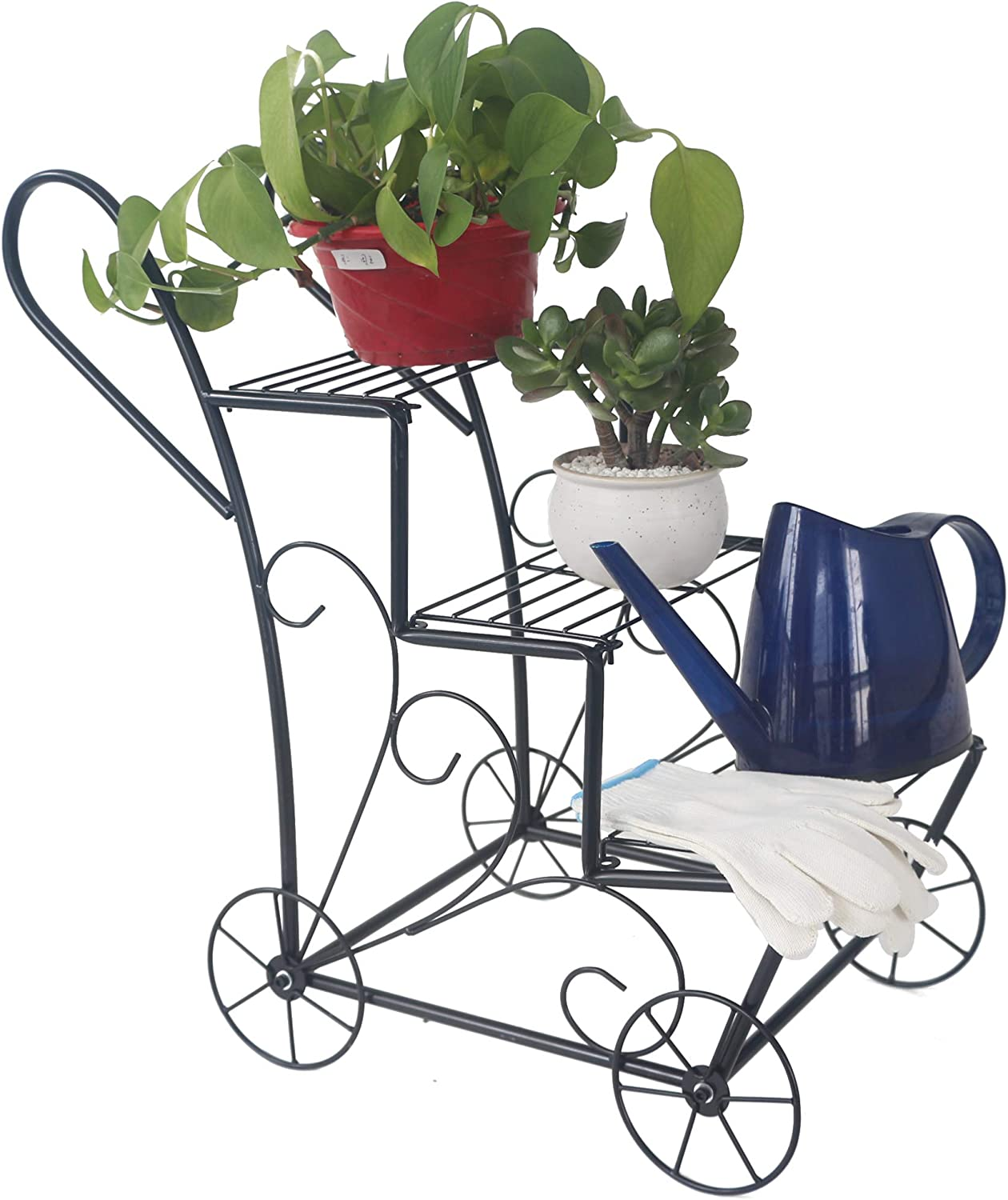 Aflowa Garden Cart Plant Stand Metal Potted Plant Holder(Plant Pot NOT Included) Plants Display Rack for Indoor Outdoor Yard Patio Parisian Style Decoration