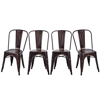 Merax Stackable Metal Dining Chairs Steel Side With Back Set Of 4 Antique