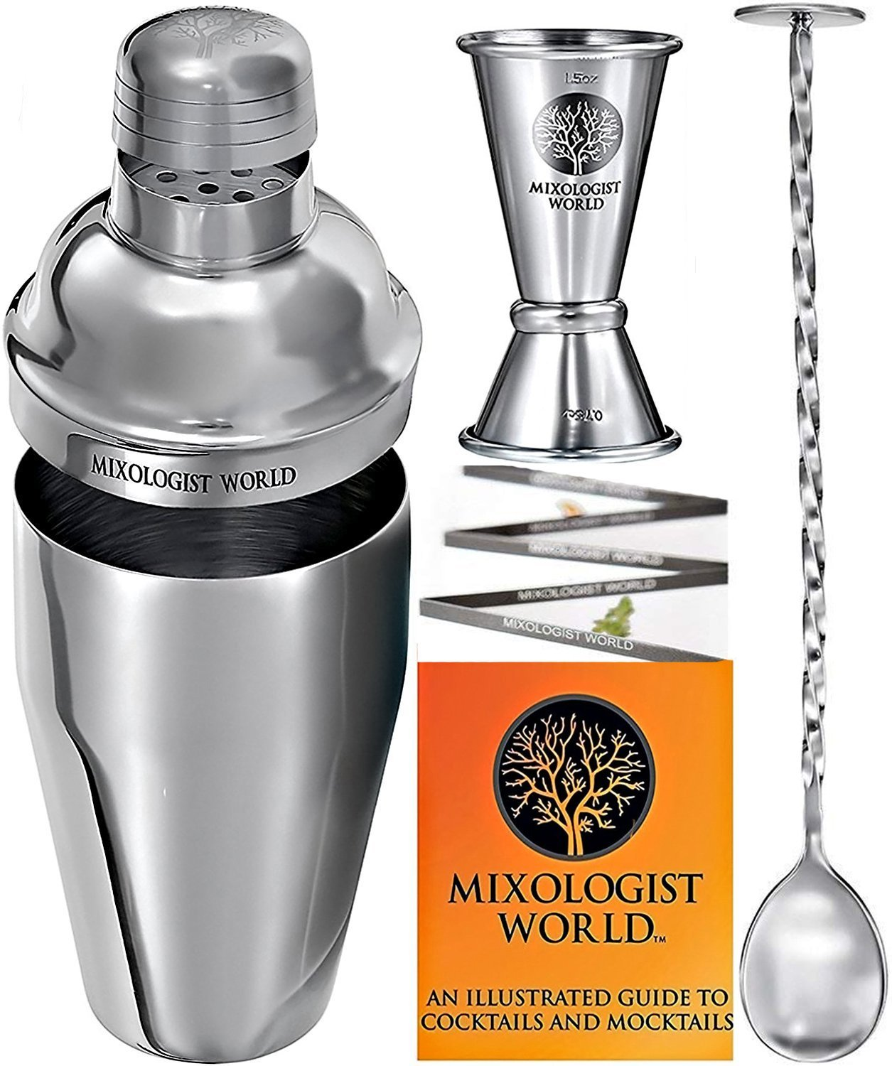 Cocktail Shaker Bar Tools - Built-in Strainer Set with Double Jigger, Mixing Spoon and Drink Recipes Booklet - Premium Bartender Kit - 24 oz Bar Accessories Perfect for a Home Bar Cart MIXOLOGIST WORLD MW1730093BP