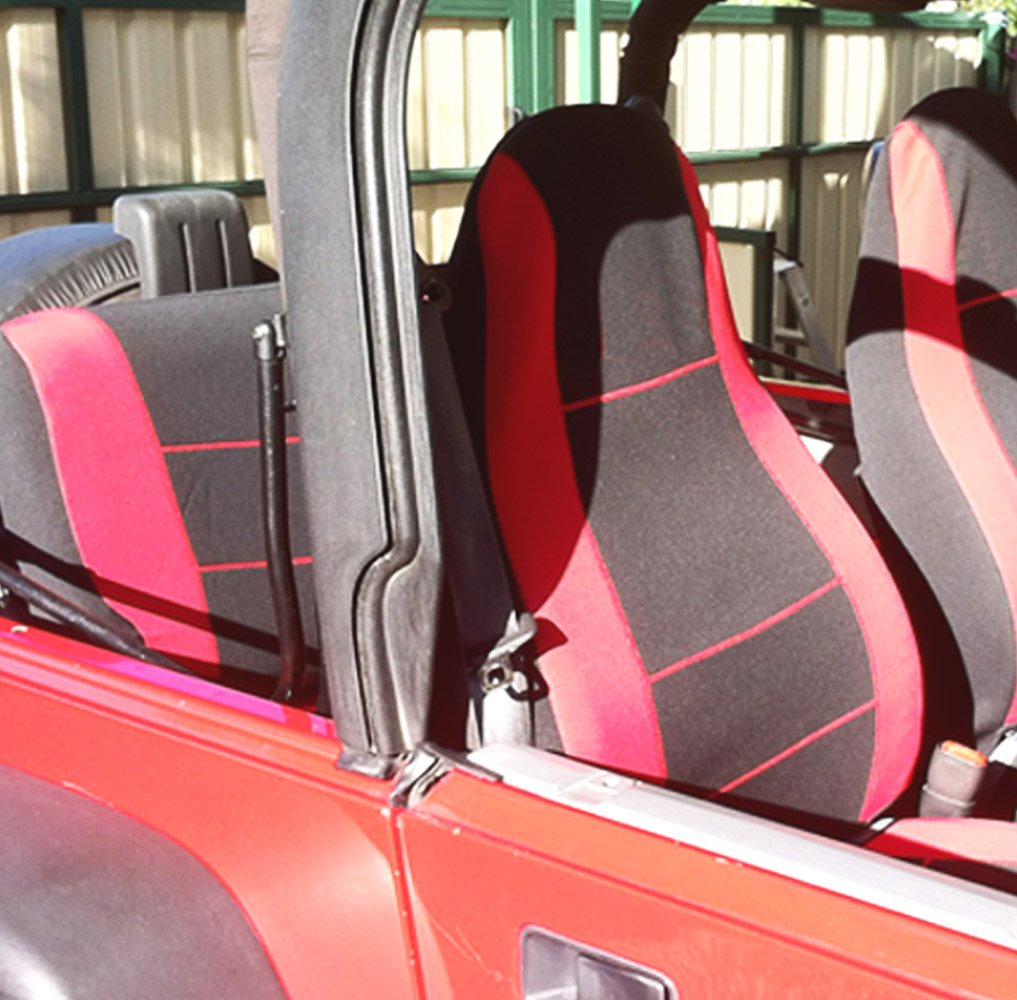 GEARFLAG Neoprene Seat Cover Custom fits Jeep Wrangler YJ 1987-96 Full Set (Front + Rear Set) (Red/Black) by GEARFLAG