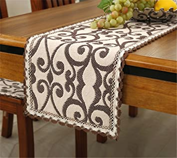 Brief Style 100% Cotton Handmade Coffee Flower Cream Small Table Runners  12u0026quot; * 43u0026quot
