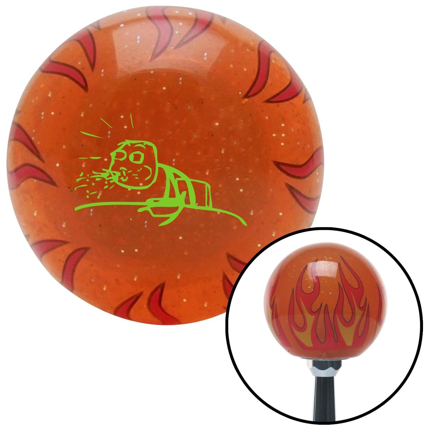 Green Guy Cereal Spitting American Shifter 254078 Orange Flame Metal Flake Shift Knob with M16 x 1.5 Insert
