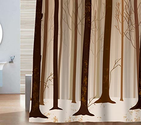 Sunlit Brown Tree Trunk Woods Quality Fabric Shower Curtain Set Nature  Relaxing Forest Print Earth Tone