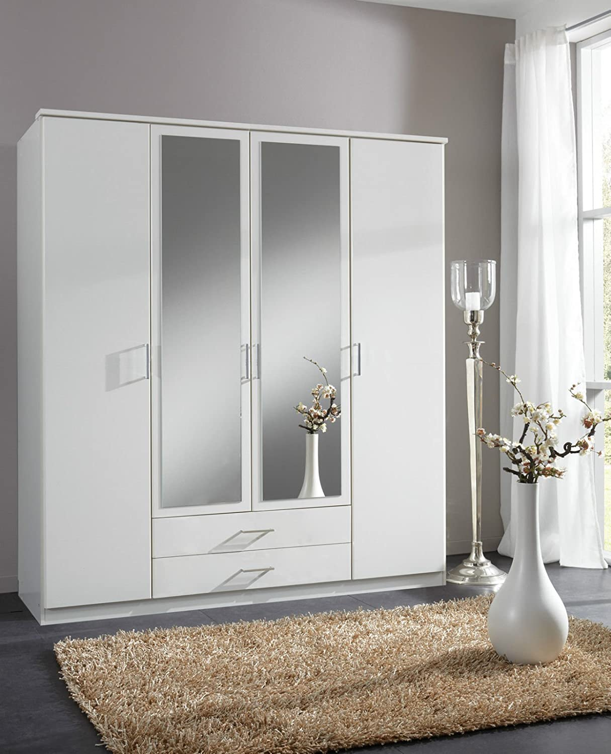 German Berlin White 4 Door Mirror Door Wardrobe: Amazon.co.uk ...