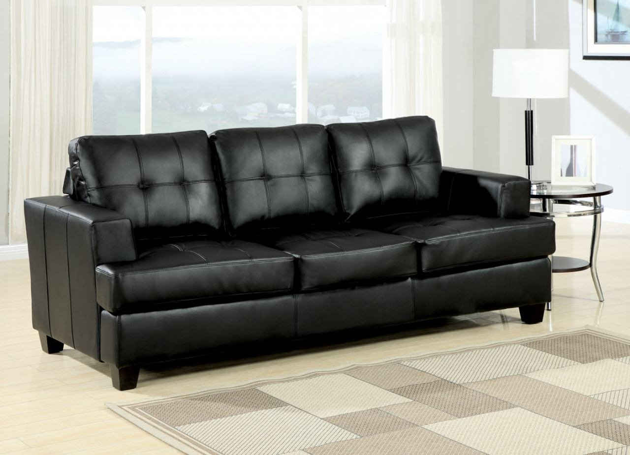 Amazon.com: Simple Relax Platinum Black Bonded Leather Sofa ...