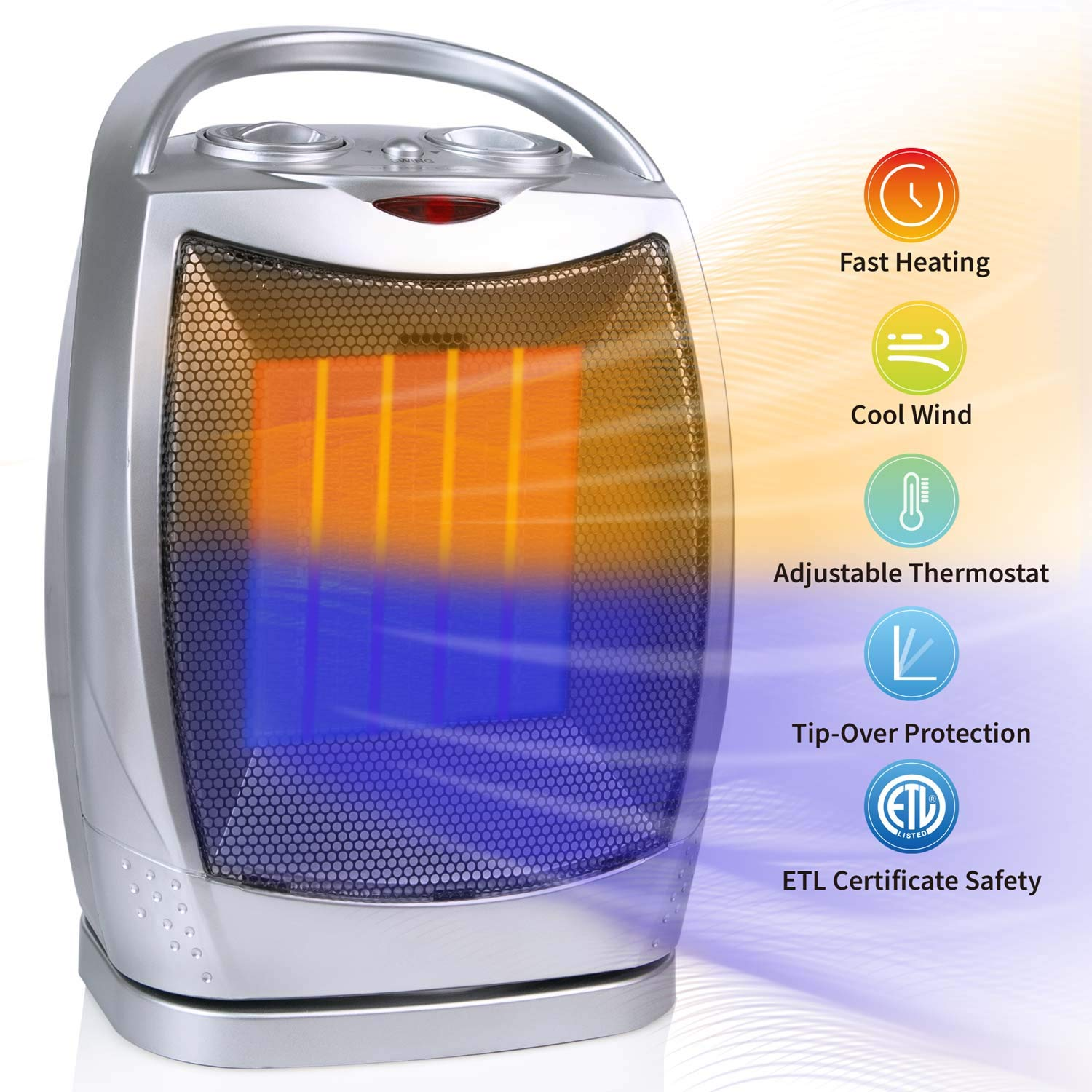750W/1500W Oscillating Ceramic Space Heater with Adjustable Thermostat, Portable Personal Heater with Over-Heat & Tip-Over Protection for Home and Office, ETL Listed