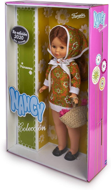 Nancy- Colección Primavera años 70, Muñeca reedición 2020 con Vestido y pañuelo a Juego Que Incluye cestito con Flores para niños y coleccionistas ...