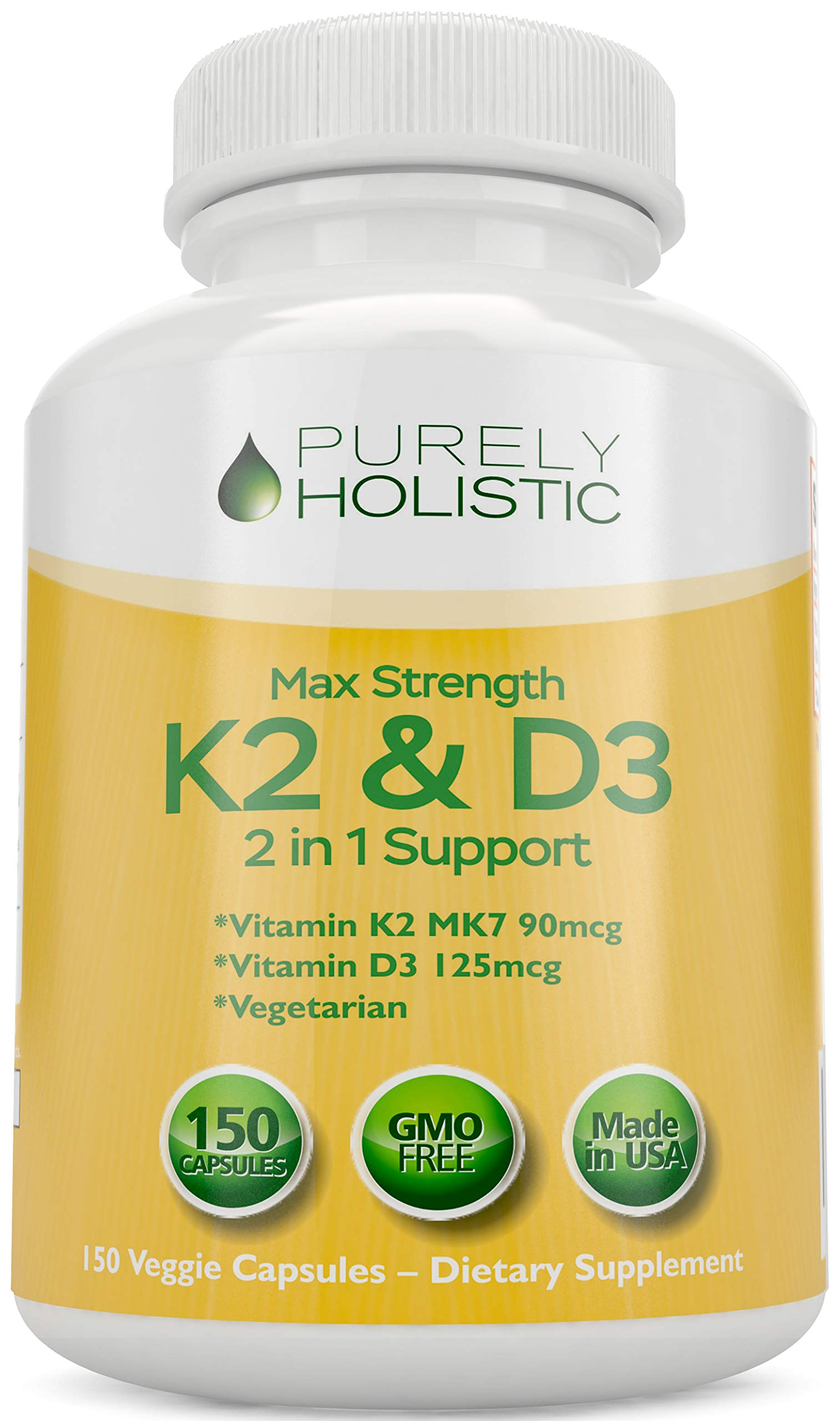 Vitamin D3 5000IU with K2 (MK7), Great Value 150 Vegetarian Vitamin D3 K Capsules, Easy to Swallow Vitamin D and K Supplement, Non GMO Vitamin D & K Complex by Purely Holistic