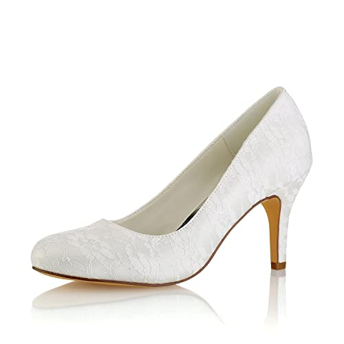 b86fae6734f Emily Brida lWedding Shoes Women s Silk Like Satin Chunky Heel Pumps with  Split Joint (EU36