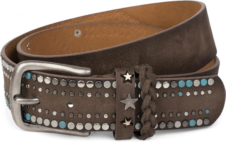 styleBREAKER cinturón de remaches de un material suave con tachuelas y remaches en forma de estrella, elemento trenzado en el cierre, cinturón «vintage», unisex 03010073