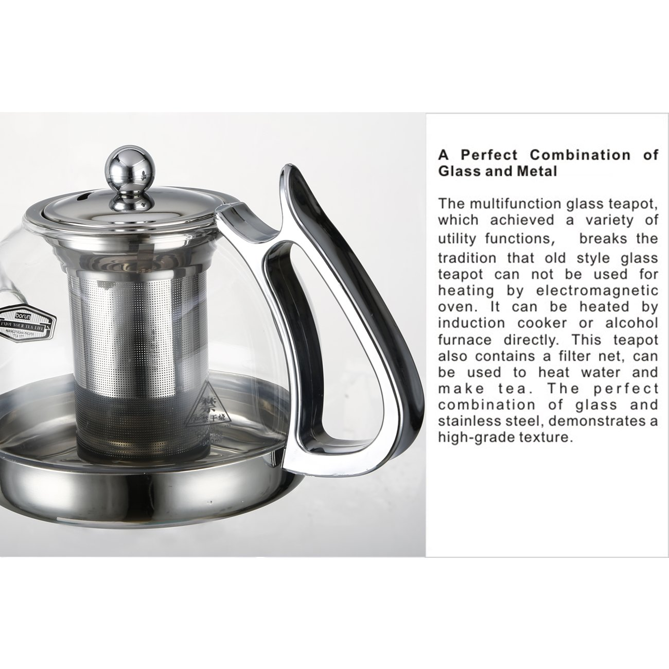 clear glass heat resistant infuser teapot induction cooker kettle  - clear glass heat resistant infuser teapot induction cooker kettle teaml amazoncouk kitchen  home