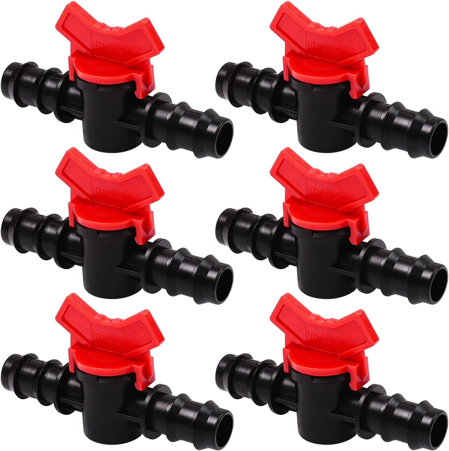 URATOT 6 Pieces Drip Irrigation Switch Valve 3/4 Inch Valve for 20mm Irrigation Tube, Hose Connectors Barbed Valve Suitable for Agricultura Garden