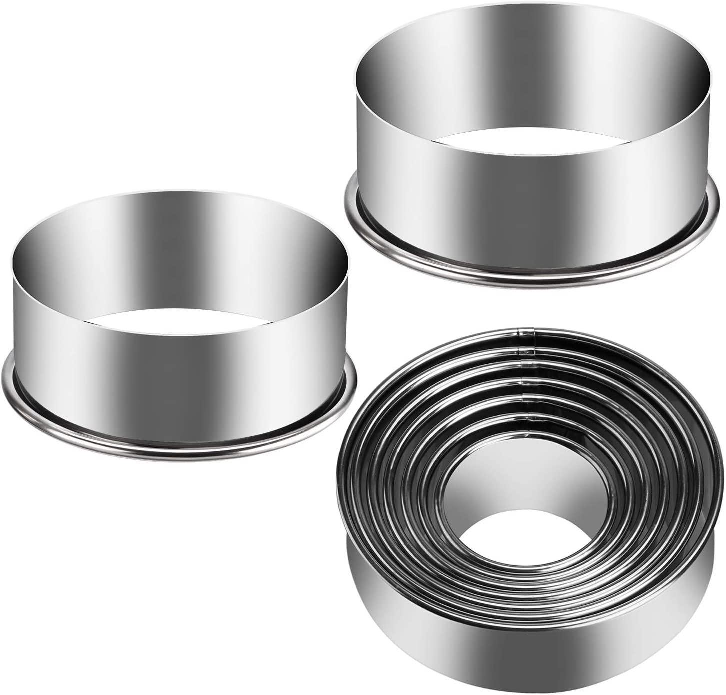 KSPOWWIN 9 Pieces Stainless Steel Cookie Cutter Set Biscuit Plain Edge Round Cutters Metal Ring Baking Molds Ranging from 2-6 Inches