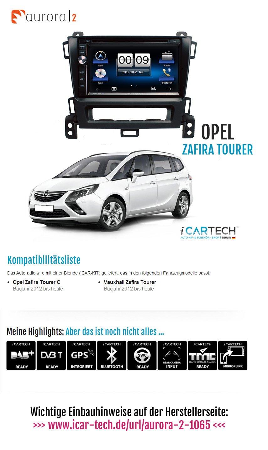 Doppel-Din Radioeinbau-Komplettset für Opel Zafira Tourer ab 2012 schwarz