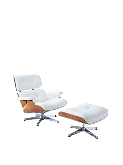 Eames Style Lounger Chair And Ottoman Set Plywood (White)