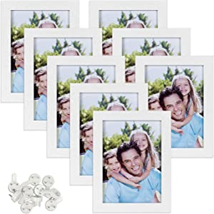Sindcom 5x7 Picture Frame, White Wood Textured Photo Frames Collage,with High Definition Glass, Mounting Hardware Included, for Wall or Tabletop Display, Set of 8