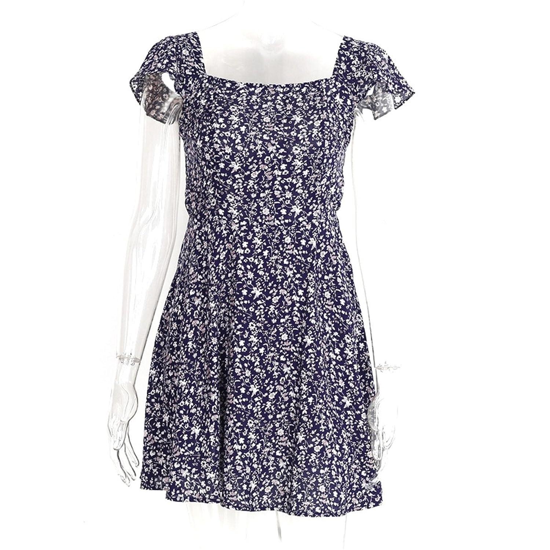 Amazon.com: keliang Backless marinha floral impressão vestido curto Mulheres de volta cinta cintura alta boho beach dress vestidos verão vestido Vintage ...