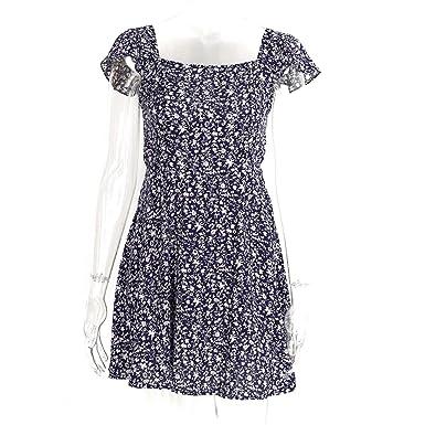 keliang Backless marinha floral impressão vestido curto Mulheres de volta cinta cintura alta boho beach dress
