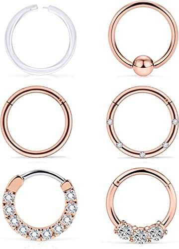 COCHARM 316L Surgical Steel Captive Bead Rings Pack 16G Helix Septum Cartilage Ring Lip Piercing Jewelry