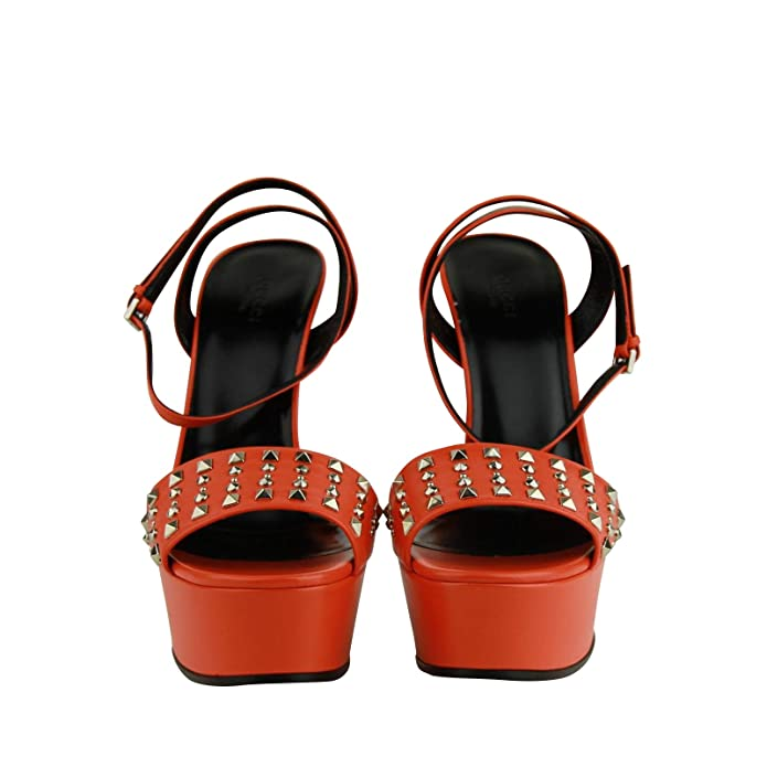 b7a194c3e Amazon.com: Gucci Women's Orange Leather Platform Heels with Silver Studs  374523 7523: Shoes