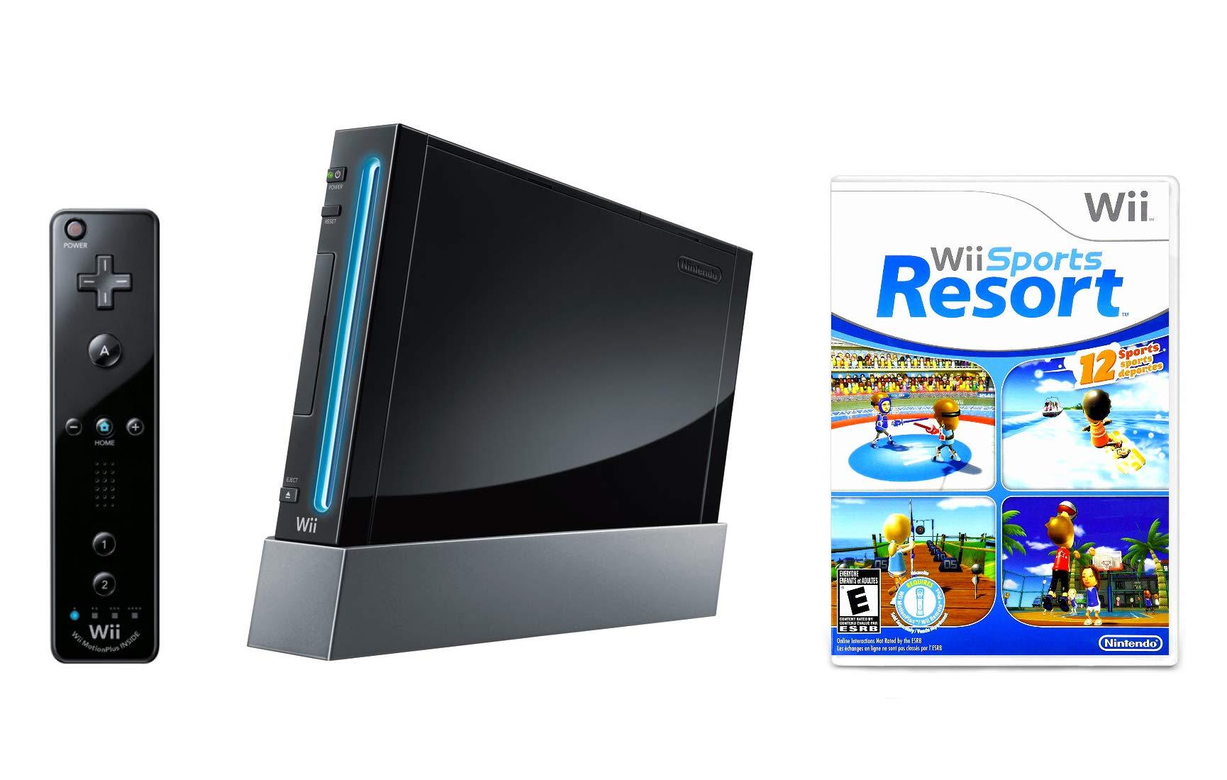Nintendo Wii Console Black with Wii Sports Resort (Renewed) by Nintendo