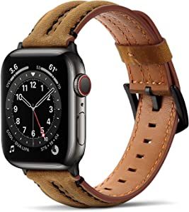 Tasikar Bands Compatible with Apple Watch Band 42mm 44mm, Genuine Leather Handmade Replacement Wristband Strap Compatible with iWatch SE Series 6 5 4 3 2 1 (42mm/44mm, Brown)