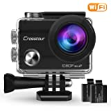 """Crosstour Action Camera 1080P Full HD Wi-Fi 12MP Waterproof Cam 2"""" LCD 30m Underwater 170°Wide-angle Sports Camera with 2 Rechargeable 1050mAh Batteries and Mounting Accessory Kits"""