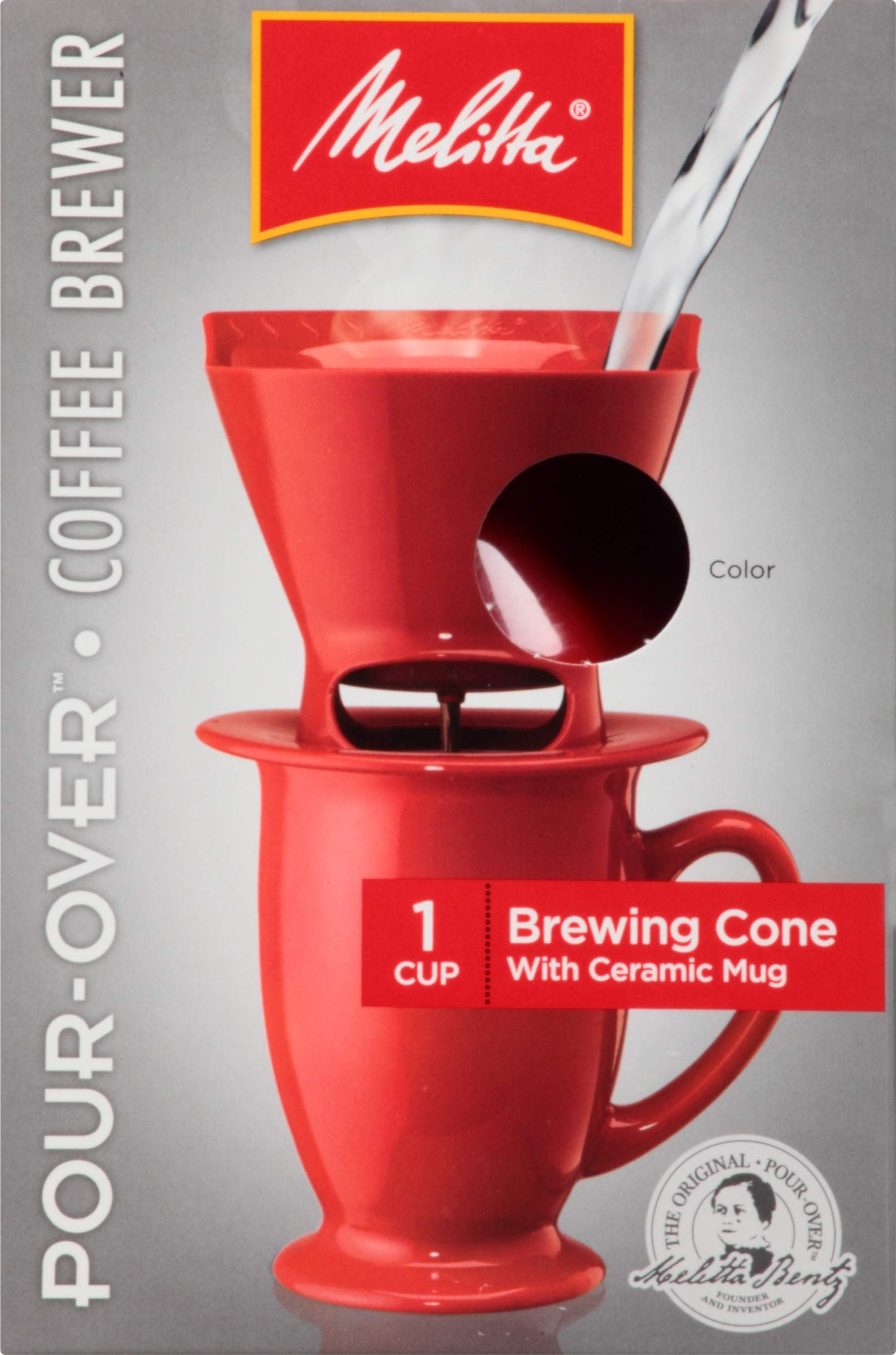Melitta Single Cup Pour-Over Coffeemaker with Red Brewing Cone & Ceramic Mug (Pack of 4) by Melitta