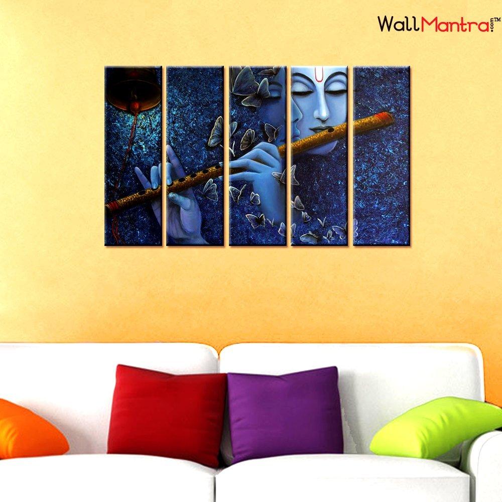 Amazon.com: WallMantra Radha Krishna Spiritual Wall Painting/5 ...
