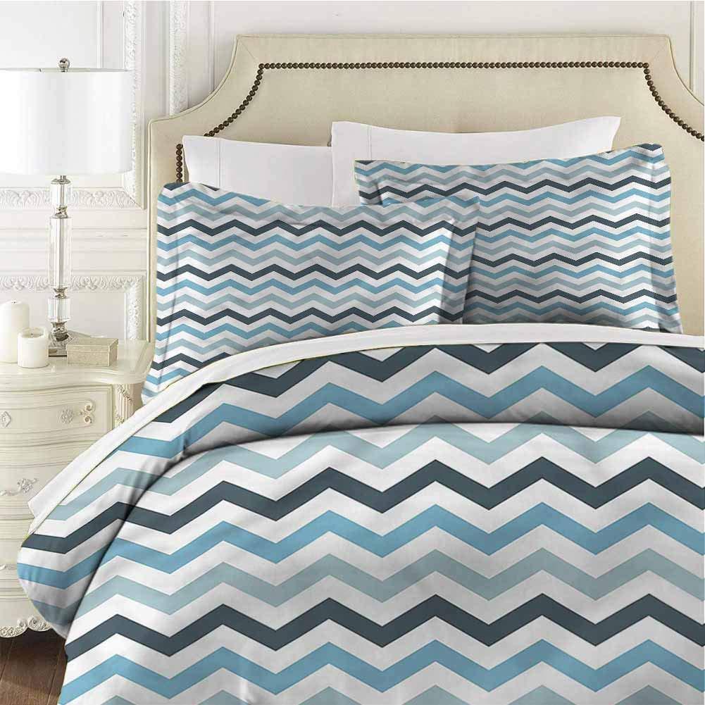 Blue Queen Size Sheet Set-3 Piece Set,Bedding Set Bedding Set Ocean Zig Zag Chevron Line Soft and Breathable Comforter Cover Washed Microfiber