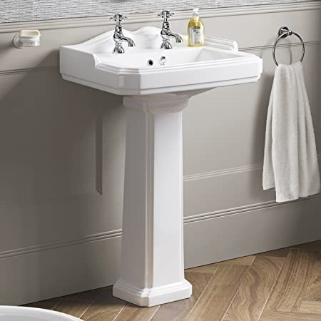 Traditional White Ceramic Full Pedestal Basin Two Tap Hole Bathroom Sink