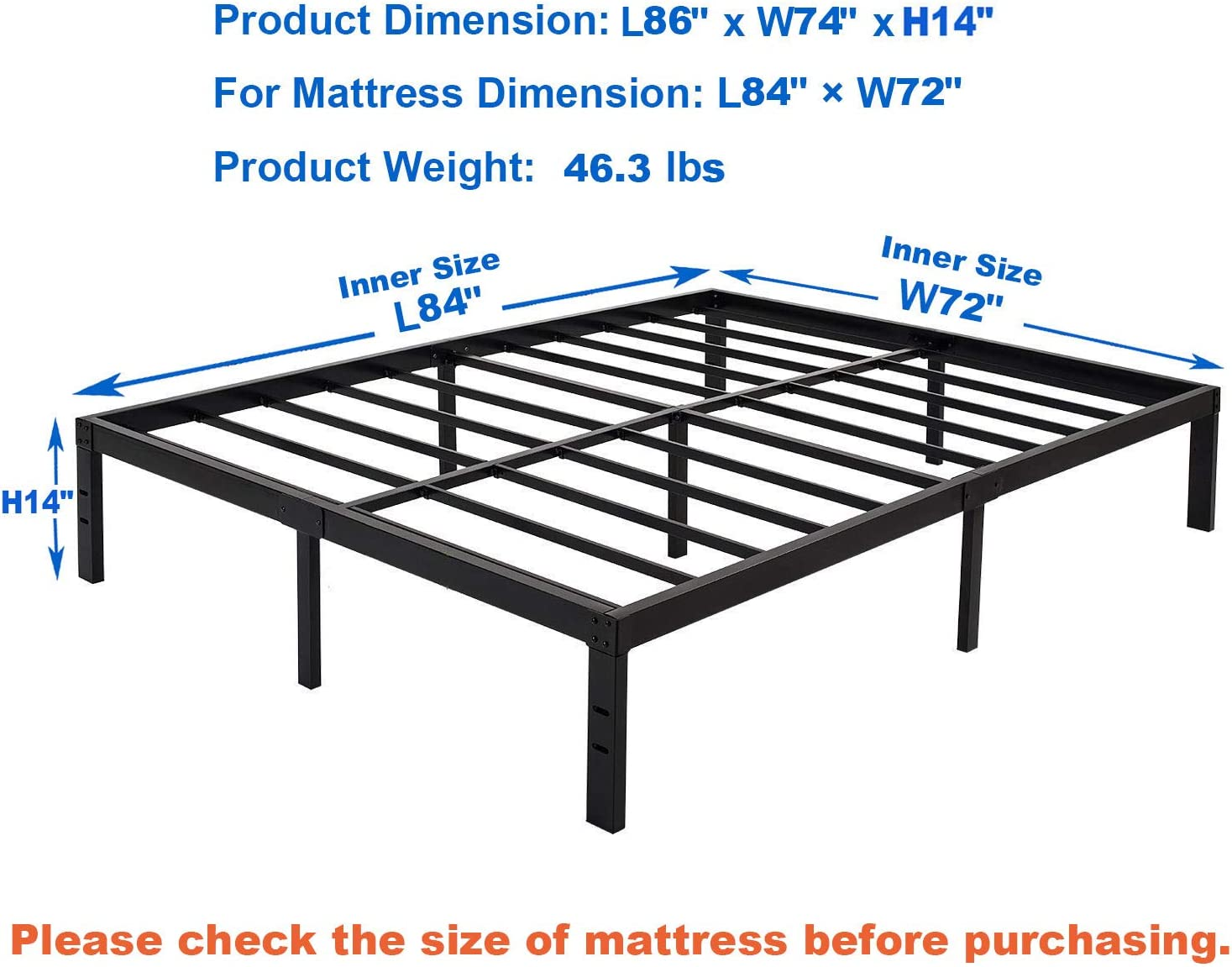 Cal-King zizin California King Size Bed Frame Platform Base 14 Inch//Heavy Duty Metal Beds Frames//Steel Slats Support//Easy Assembly//Noise-Free//No Box Spring Needed
